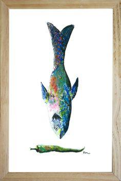 blue fish illustration in frame naturel catchii.com desing painting wall art femke zwaan