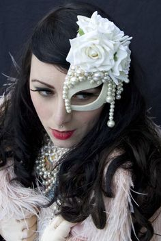 LAVISH PEARLS HALF MASK FASCINATOR HAIR by PearlsandSwine on Etsy