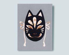 Kitsune Mask Paper Collage Kitsune Mask, Metallic Paper, Lapel Pins, Superhero Logos, Washi, Batman, Collage, Handmade Gifts, Fictional Characters