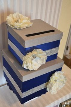 Blue and Silver card box. Love the bling and flowers! Blue and Silver card box. Love the bling a Sister Wedding, Dream Wedding, Wedding Day, Wedding Table, Diy Wedding, Lace Wedding, Wedding Dresses, Blue Silver Weddings, Blue And Silver