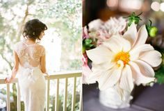 Once Wed real wedding, lace back wedding gown
