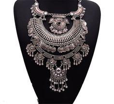 Girl Era Best Multi-Layers Filigree Flower Pendant Statement Chunky Long Big Collar Necklace(w)