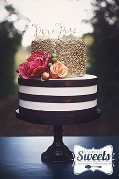 Gold sequins, black and white stripes, colorful sugar flowers... swoon! | NashvilleSweets.com
