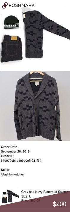 Ashton kutcher sweater!!! This is a size men's large grey and navy patterned sweater from Ashton Kutcher's pop up closet! Took me about an hour to snag this, & paid $86 after shipping, only to realize I am a size small and will have no use for this sweater. If you'll wear this, or are just a huge Ashton kutcher fan and want his sweater, this is for you! I opened it out of the box and looked at it. Never tried it on and put it right back in the box. No trades, but will accept reasonable…