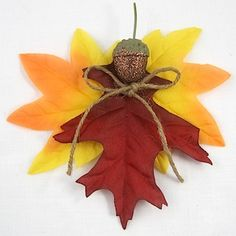 Sweet Autumn Angels tutorial - a simple craft made with dollar store silk leaves....we used some of our real wax-dipped ones