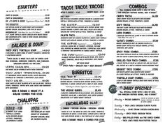 Art of the Menu: Taco Joint
