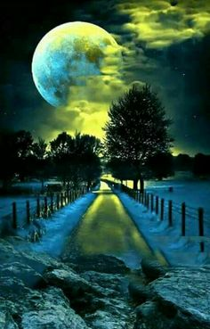Moonlight on an icy road - chilling!- Moonlight on an icy road – chilling! Moonlight on an icy road – chilling! Nature Pictures, Beautiful Pictures, Beautiful Places, Beautiful Scenery, Stars Night, Shoot The Moon, Moon Photography, Photography Lighting, Moonlight Photography