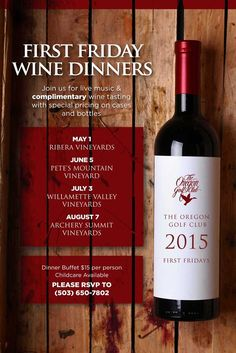 First Friday Wine Dinner Tasting flyer poster template
