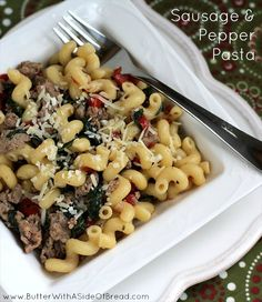 Spinach Sausage & Pepper Pasta {Weight Watchers recipe!} Butter with a Side of Bread #recipe pasta meals, sausag pepper, pepper pasta, weight watcher meals, spinach sausag, recipe with sausage, food, sausage and pasta, weight watcher recipes
