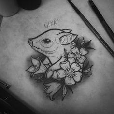 "65 Synes godt om, 8 kommentarer – Dylan Durand (@dylandurandtattoos.xvx) på Instagram: ""Got a bit cranky so I drew a piggy Available for tattoo! #tattoo #flash #flashdesign…"""