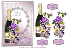 - Champagne and Flowers birthday decoupage card. Comes with decoupage of the champagne bottle and extra flowers. 90th Birthday Cards, Birthday Sentiments, Personalized Birthday Cards, Birthday Cards For Men, Cool Happy Birthday Images, Happy Birthday Flower, Happy Birthday Fun, Happy 21st Birthday Daughter, Congratulations And Best Wishes