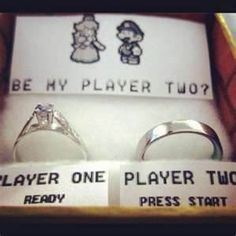 proposal idea.......love this, very cute At least they have player one as the right person!! Haha!!