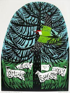 Mary Sumner : Monkey Puzzle & Woodpecker. Linocut