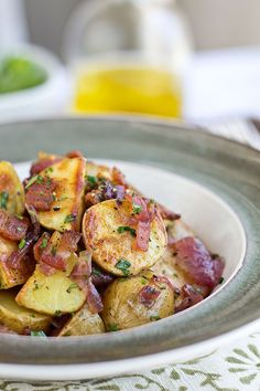 Warm, Roasted Baby Potato Salad with Crispy Bacon, Caramelized Red Onions and Warm Bacon Vinaigrette