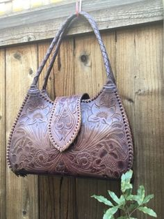 Alexandro Yeo Handbag Bag Purse Tobacco Purple Tooled Leather Handled Mexico Med | eBay
