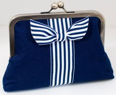Nautical Clutch Purse Navy and White Stripes by JohnMetBetty