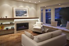 Details About White Living Room With Hardwood Flooring Window Seat Cushions White Sofa And Gas Fireplace