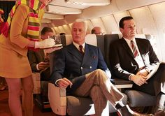 Roger Sterling and Don Draper airplane Mad Men season 7