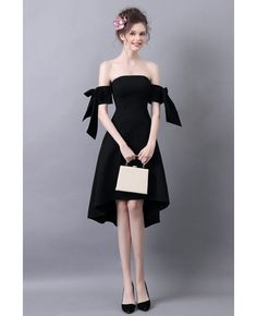 f77ca68680b High Low Slim Black Prom Dress With Off The Shoulder Straps  AGP18154 -  GemGrace.com