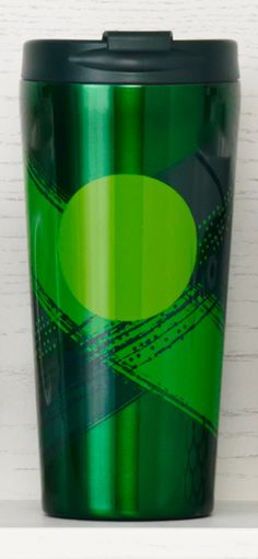 Stainless steel tumbler featuring a dot design with intersecting green lines. #Starbucks #DotCollection