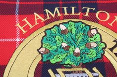 Hamilton Clan Crest and Tartan Hanging Banner. Worldwide Shipping Available