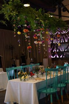 Our colourful hanging flower garland at Showtime Events Food Tasting Evening, January 2015 | Bouquet Melbourne