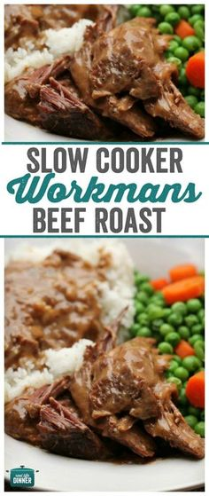 Workman's Roast a delicious and tender roast that makes it's own gravy as it cooks in the slow cooker Slow Cooker Round Roast, Crock Pot Slow Cooker, Crock Pot Cooking, Slow Cooker Recipes, Crockpot Recipes, Cooking Recipes, Pork Recipes, Budget Cooking, Meal Recipes