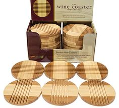 Picnic Time Bamboo Coasters Beautiful Entertaining Tabletop Wine and Hot andor Cold Beverage Coasters 6 *** Want additional info? Click on the image.