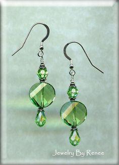 Peridot Swarovski Crystal Beaded  Earrings 1806E