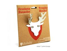 The Trophy Hooks™ come in 3 types of Canadian animals: Moose, Deer and Longhorn. They are made with umake's CNC machining system as well as their packaging. Canadian Animals, Hanging Hats, Decoration Piece, Towel Hooks, Kids Bedroom, Crochet, Moose Deer, Creative, How To Make