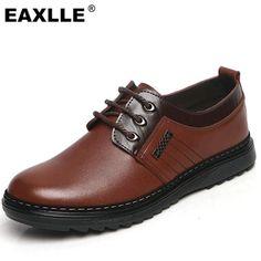 [Visit to Buy] 2017 Brand New Men Casual Shoes Genuine Leather Lace UP Brown/Black Dress Shoes Men Flats Zapatos Non-Slip Resistant Men Shoes #Advertisement
