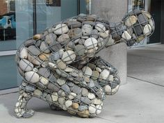Caged River Rock Man at Reno Museum of Art.