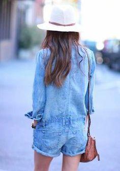 Denim romper // definition of casual Fashion Moda, Denim Fashion, Love Fashion, Fashion Looks, Womens Fashion, Fashion Trends, Street Fashion, Fashion Beauty, Girl Fashion