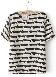 White Short Sleeve Overlay Cats Print T-shirt - Sheinside.com