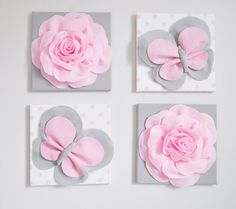 This listing is for 4 of the above pictured wall hangings: Light Pink Roses on Gray Pink and Gray Butterflies on White with Light Pink Polka Dot Canvases 12 x12 Wall Hanging. ***Matching and Coordinating Pillows Available Please see Shop: www.bedbuggs.etsy.com*** Stunning Touch to any wall