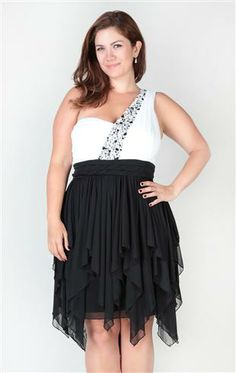 Plus Size High Low Dress with One Shoulder and Stone Trim