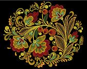 Khokhloma Oval Machine Embroidery design Set, ArtEmbroidery.ca by Liuba Machine Embroidery Designs Set For Sale © ArtEmbroidery.ca