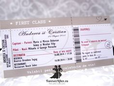 Invitatie de nunta Bilet de avion   Invitatii de nunta - Moderne