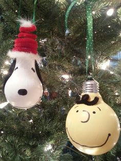 Charlie Brown & Snoopy Light Bulb Ornaments for Christmas!