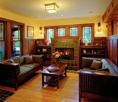 Interiors of Praire Style Homes Prairie Style House Interior Craftsman style interior Bungalow Homes, Craftsman Fireplace, Craftsman Living Rooms, House Design, Bungalow Style, Craftsman Style Interiors, Bungalow, Praire Style Homes, Craftsman Style Homes