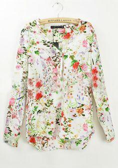 Multicolor Floral V-neck Long Sleeve Chiffon Blouse