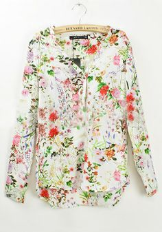 Floral V-neck Blouse