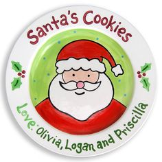 Cookies for Santa Plate - Kids Personalized Ceramic Plate - Hand Painted - Merry Christmas on Etsy, $40.00