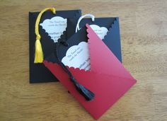 Graduation Invitation - Pullout Tag with Tassel, School Colors. $2.95, via Etsy.