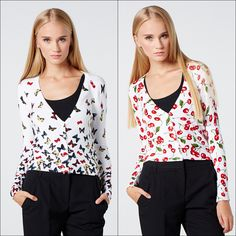 We can't decide which of these two cardigans is cuter... Butterfly Print Cardigan or Cherry Print Cardigan