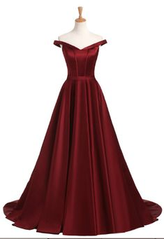 Burgundy Satin Prom Dress,Long Prom Dresses,Prom Dresses,Evening Dress,
