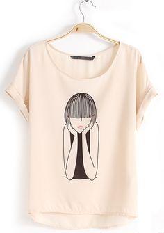 Light Pink Short Sleeve Cartoon Girl Print T-Shirt Like this graphic tee especially now #NYFW