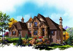 European Style House Plans - 4219 Square Foot Home , 2 Story, 4 Bedroom and 3 Bath, 3 Garage Stalls by Monster House Plans - Plan 53-307