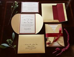 Gold and marsala wedding invitation suite by Dogwood Blossom Stationery. Photo by Tab McCausland.