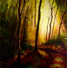 """""""Forest Whispers"""" by Cathy Yarwood-Mahy, acrylic on canvas, 76 cm x 76 cm. Paintings, Canvas, Artwork, Tela, Work Of Art, Paint, Auguste Rodin Artwork, Painting Art, Canvases"""
